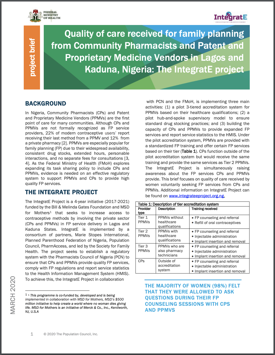 Quality of care received for family planning from Community Pharmacists and Patent and Proprietary Medicine Vendors in Lagos and Kaduna, Nigeria: The IntegratE project